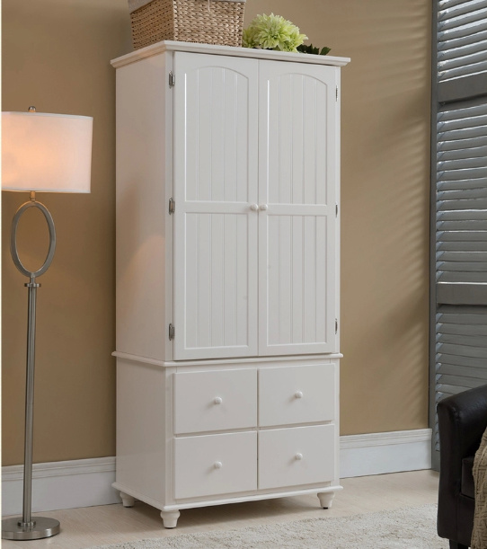 White Color European Style Wardrobe Made by Solid Wood (M-X1074)