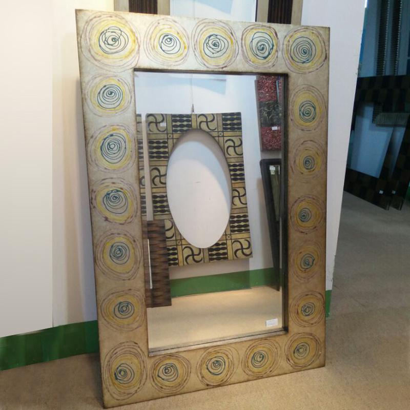 Flowers Decorative Design Wood Mosaic Mirror Frame (LH-000525)