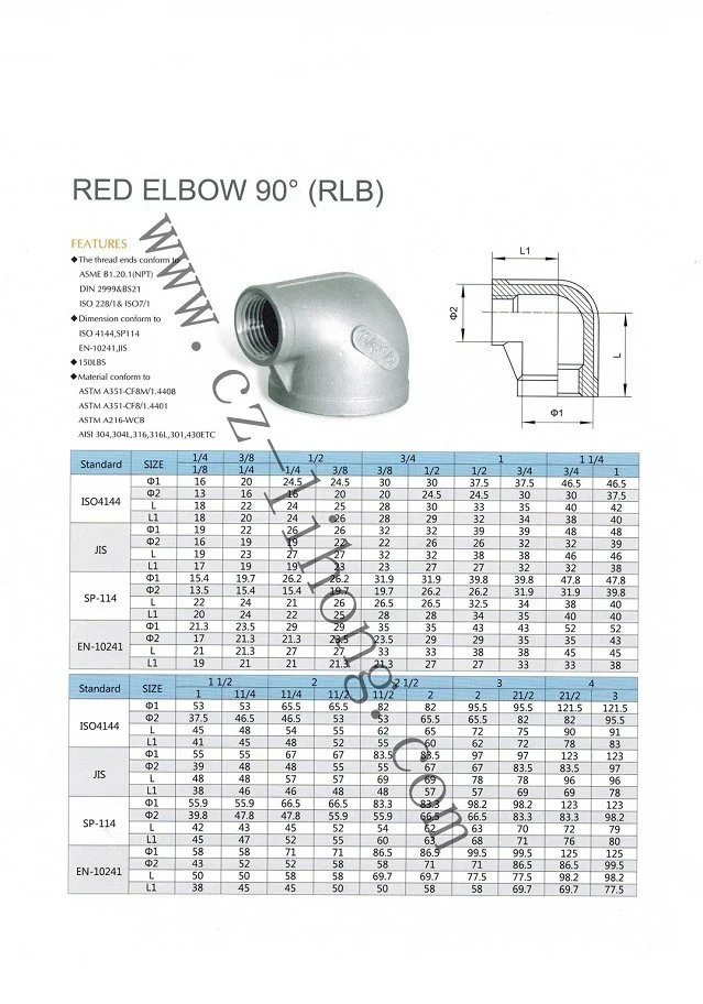 "Stainless Steel 1/8"" DIN2999 90 Degree Elbow F/F"