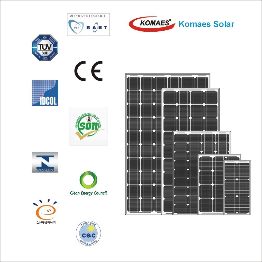 5W - 115W Solar System PV Panel Monocrystalline Solar Panel with TUV IEC Mcs CE Cec Inmetro Idcol Soncap Certificate