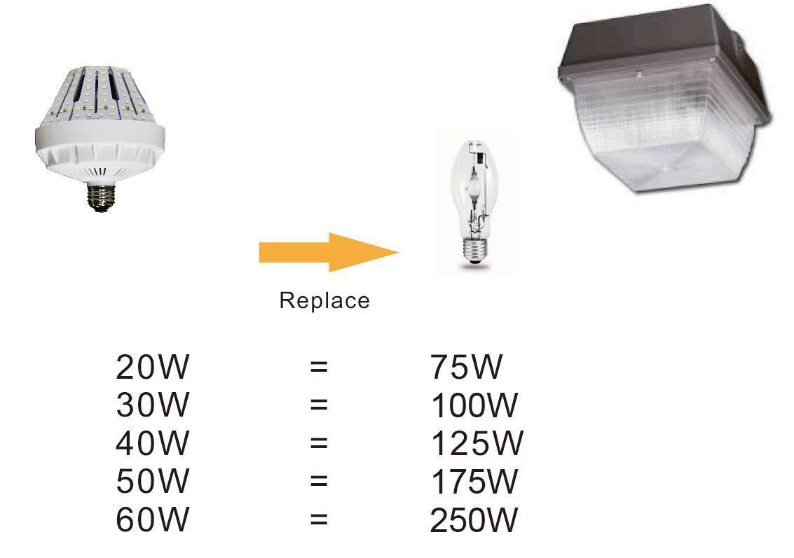 cUL UL Dlc E26/E39 150lm/W 50W LED Canopy Light