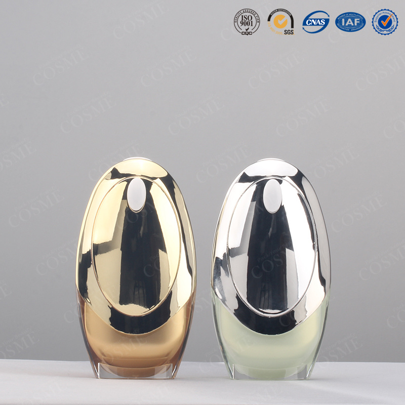 Silver Gold Quality Fancy Plastic Acrylic Cosmetic Airless Pump Bottle Bb Cream Bottle and Jar