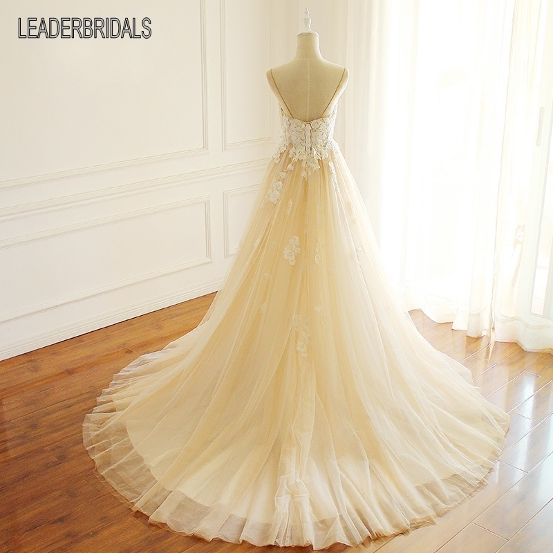 2018 New Blush Wedding Dress Spaghetti Straps Lace Tulle Bridal Ball Gown Lb1539