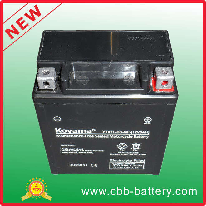 12V7ah Ytx7l-BS-Mf Maintenance Free Motorcycle Battery
