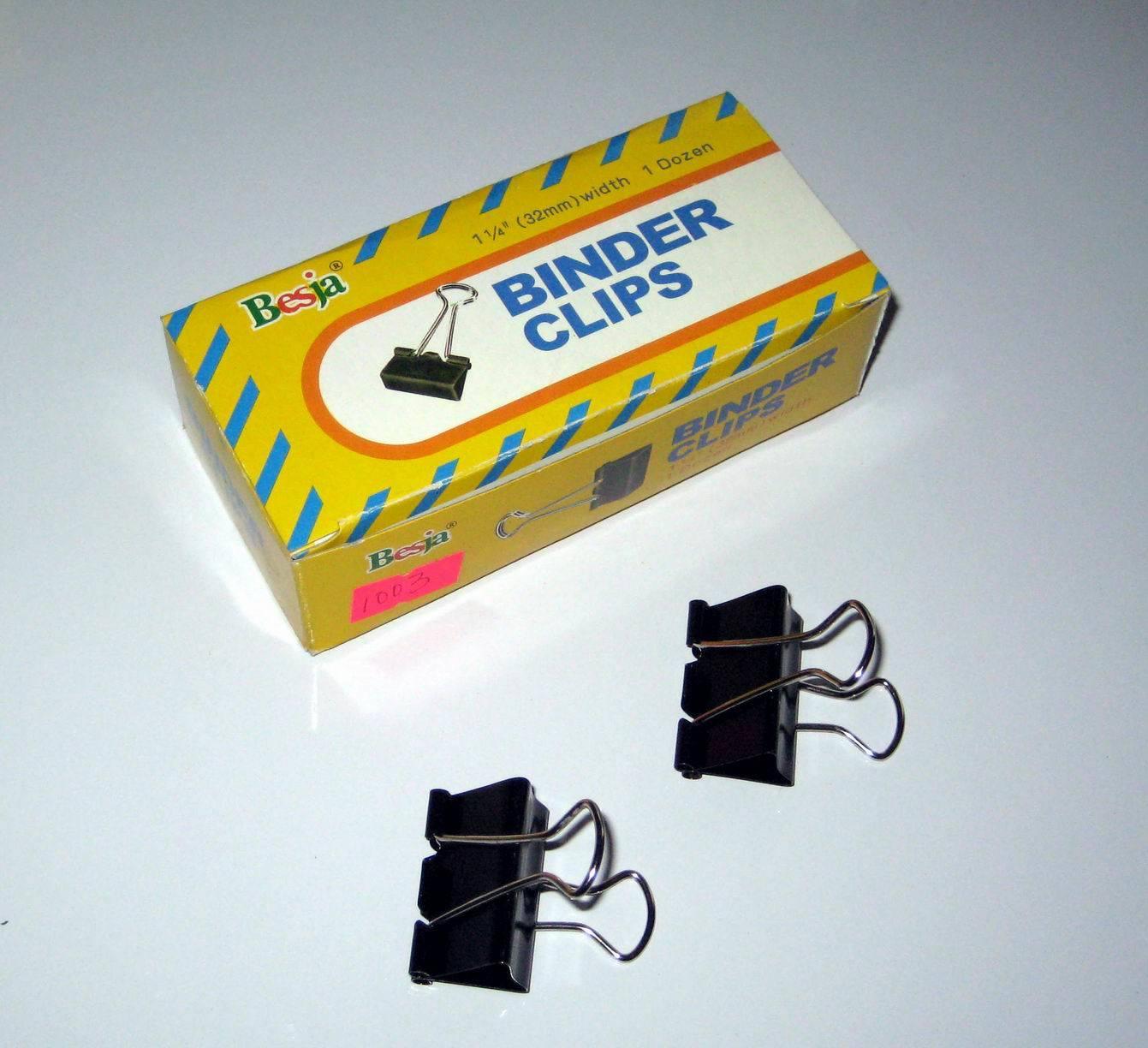 32mm Black Binder Clips (1002)