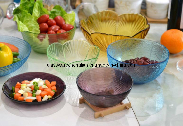 Various Colors of Glass Plate and Bowl (W-05)