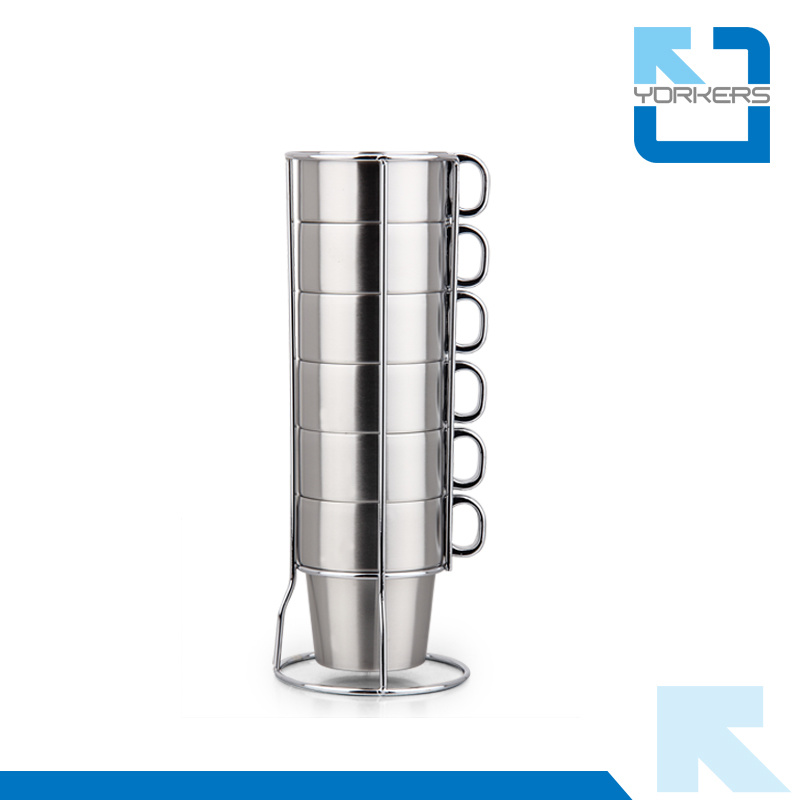 Multi-Functional 6 Pieces of Stainless Steel Coffee Mug & Milk Cup for Wholesale