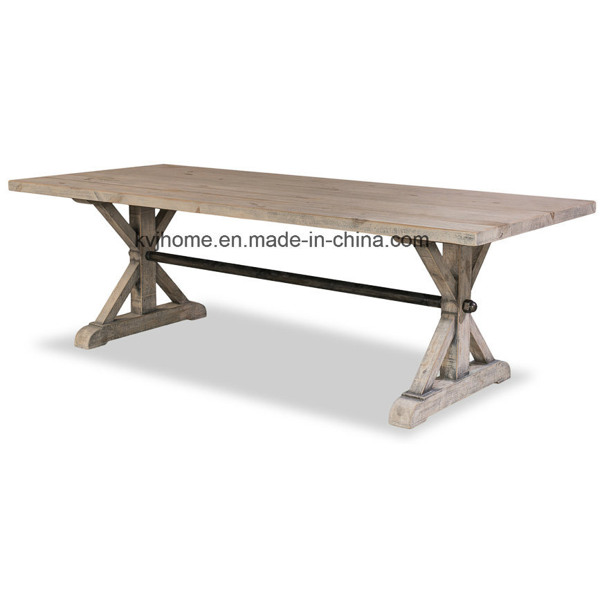 Reclaimed Aged Elm Wood Dining Table for Restaurant (AF-118)