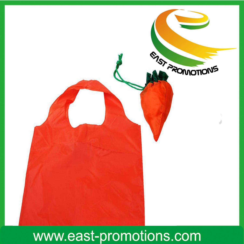 Reuseable 190t Carrot Shaped Nylon Foldable Drawstring Bag for Advertising