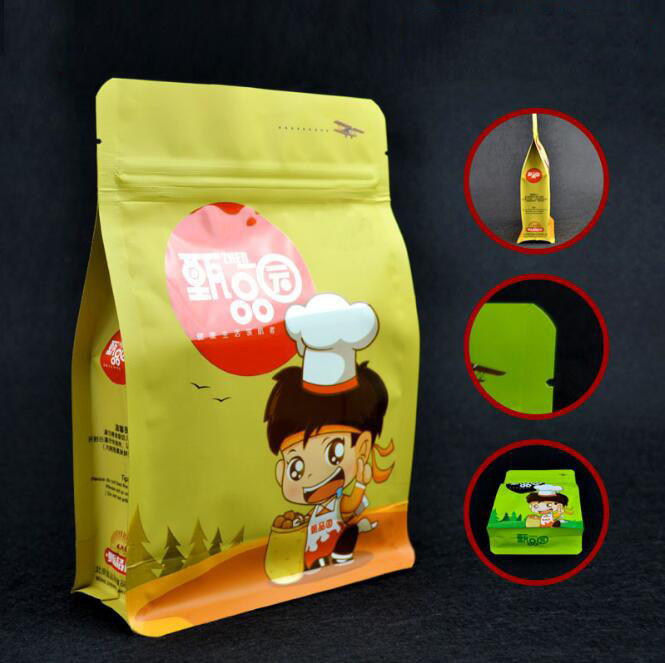 Flat Bottom Stand up Pouch Aluminum Foil Zip Lock Coffee Bag/ 3 Layer Material Laminated Upright Food Plastic Bag
