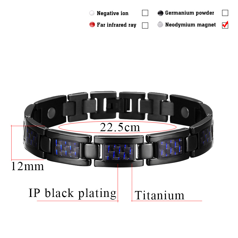 Carbon Fiber Titanium Black Plated Bracelet for Men