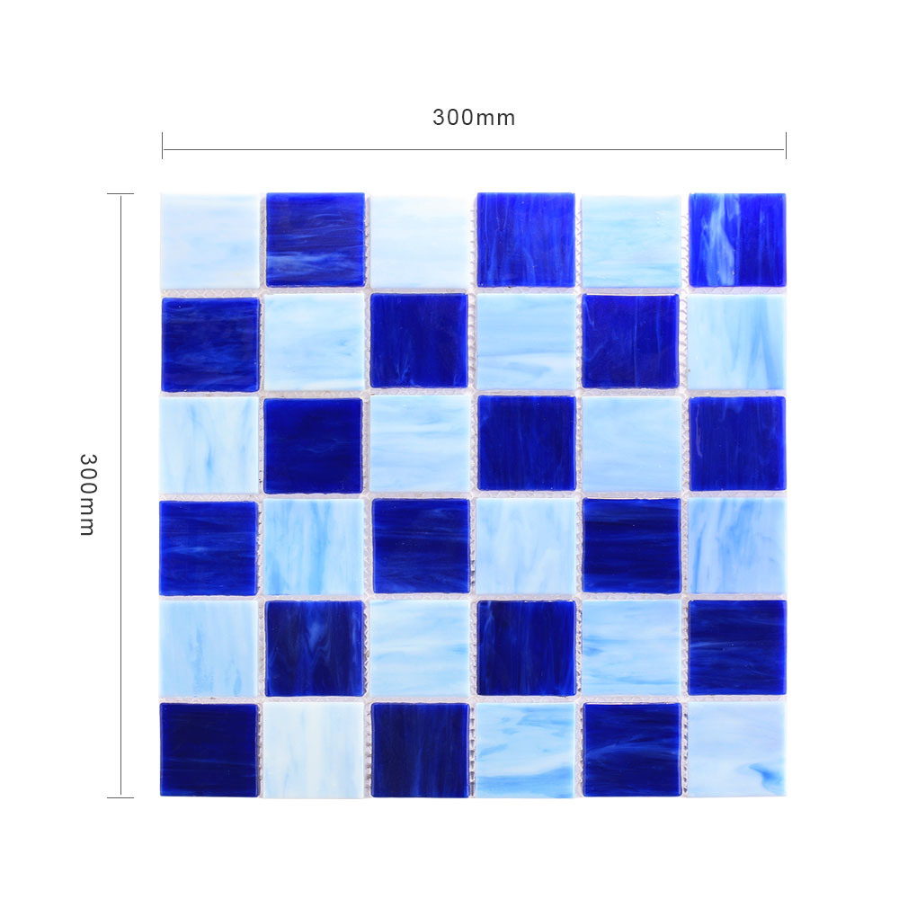 Building Material Fused Decorative Blue Floor Tile Stained Glass Mosaic