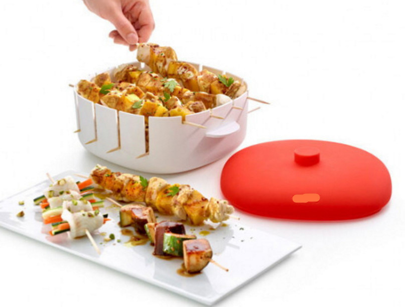 Plastic Material Platinum Silicone Brochette/BBQ Container/Box for Microwave