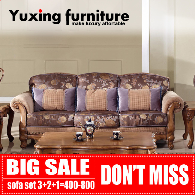 Big Sale Classical Fabric Sofa Set Traditional Home Couch with Carved Wood Trim