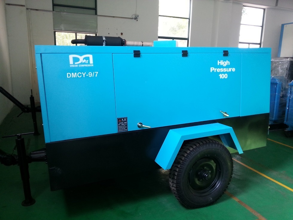 Trailer Mounted Portable Double Rotor Diesel Engine Rotary Screw Air Compressor