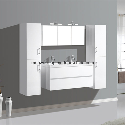 Melamine MDF Bathroom Vanities with Side Cabinet Resin Sink Cabinet