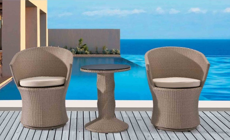 Aluminum Outdoor Furniture Rattan Table and Rattan Chair