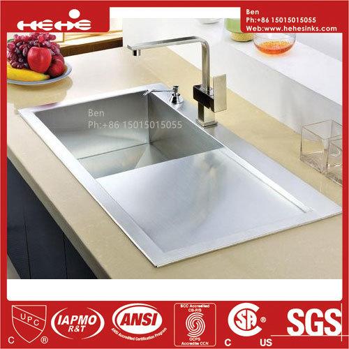 Drain Board Handmade Sink, Handmade Top Mount Drain Board Kitchen Sink, Stainless Steel Sink, Kitchen Sink, Sink