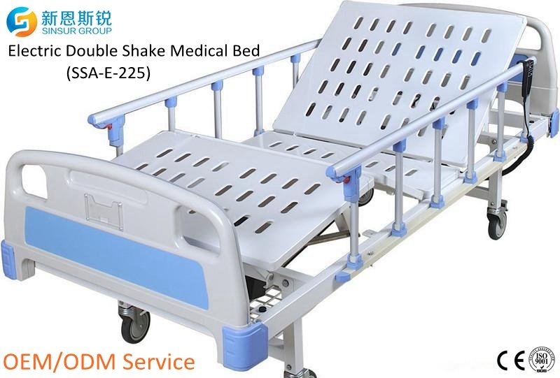 China Supply Hospital Furniture Electric 2-Crank Shake Medical Bed