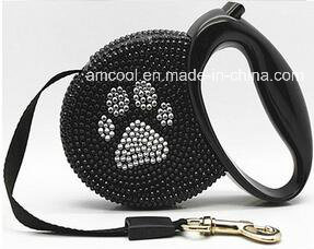 Fashionable Reshinestone Retractable Dog Leash Pet Collars & Leashes