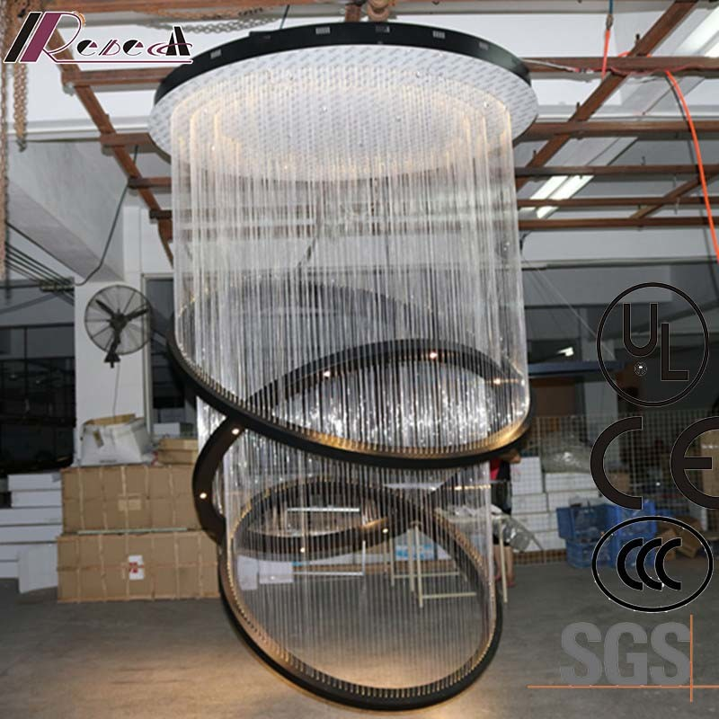Hotel Lobby Decorative Hanging Fiber Large Round Pendant Lamp