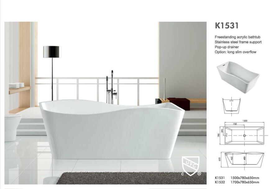 Cupc Freestanding Acrylic Bathtub K1531