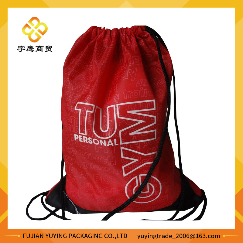 210d Red Polyester Nylon Drawstring Bag Backpack