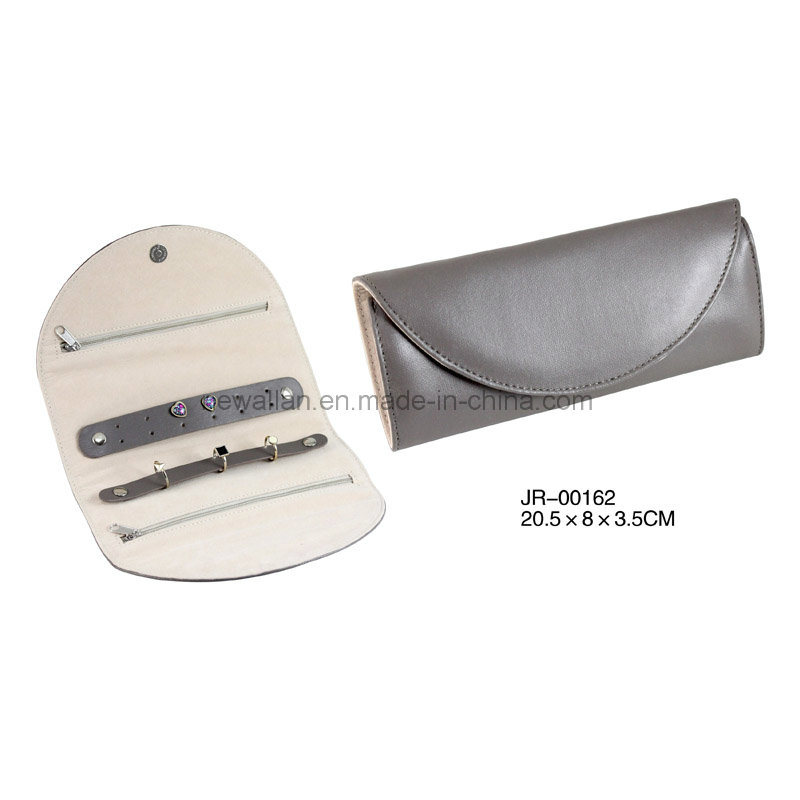 New Design Classic Grey Leather Travel Jewelry Pouch Jewelry Roll