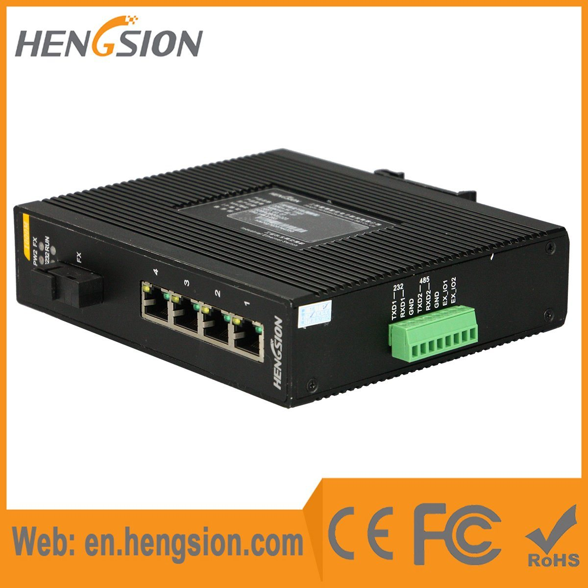 1 Fiber & 4 Port Rugged Industrial Ethernet Network Switch