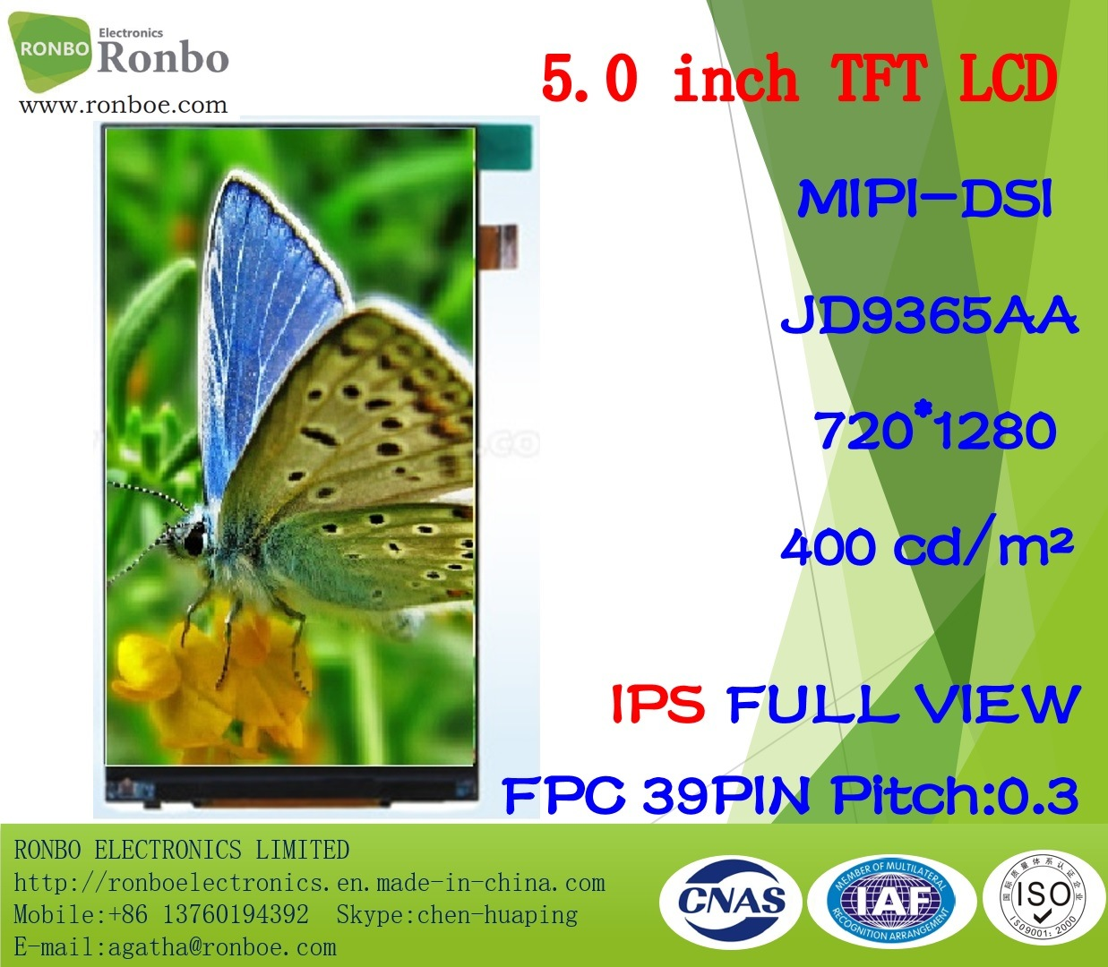 "5.0"" IPS HD 720X1280 Mipi Mobile Phone TFT LCD Screen Panel"