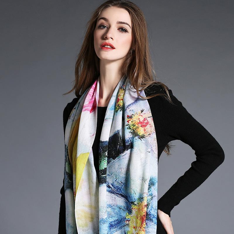 Digital Printing, Woolen Scarf for Women in Winter