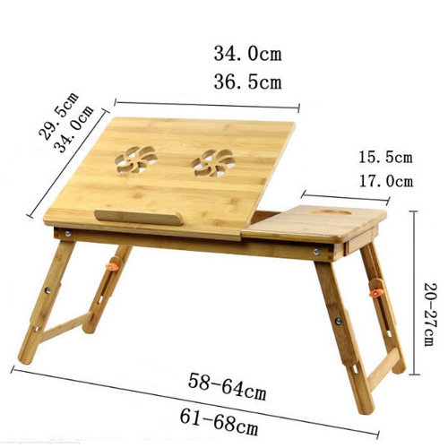 Adjustable Bamboo Computer Laptop Desk Foldable Computer Table