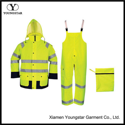 High Visibility Reflective Safety Rainsuit with En471 Standard