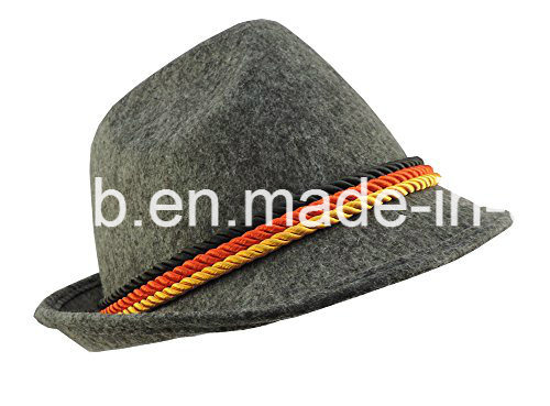 Grey Felt Alpine Oktoberfest German Bavarian Costume Hat with Feather