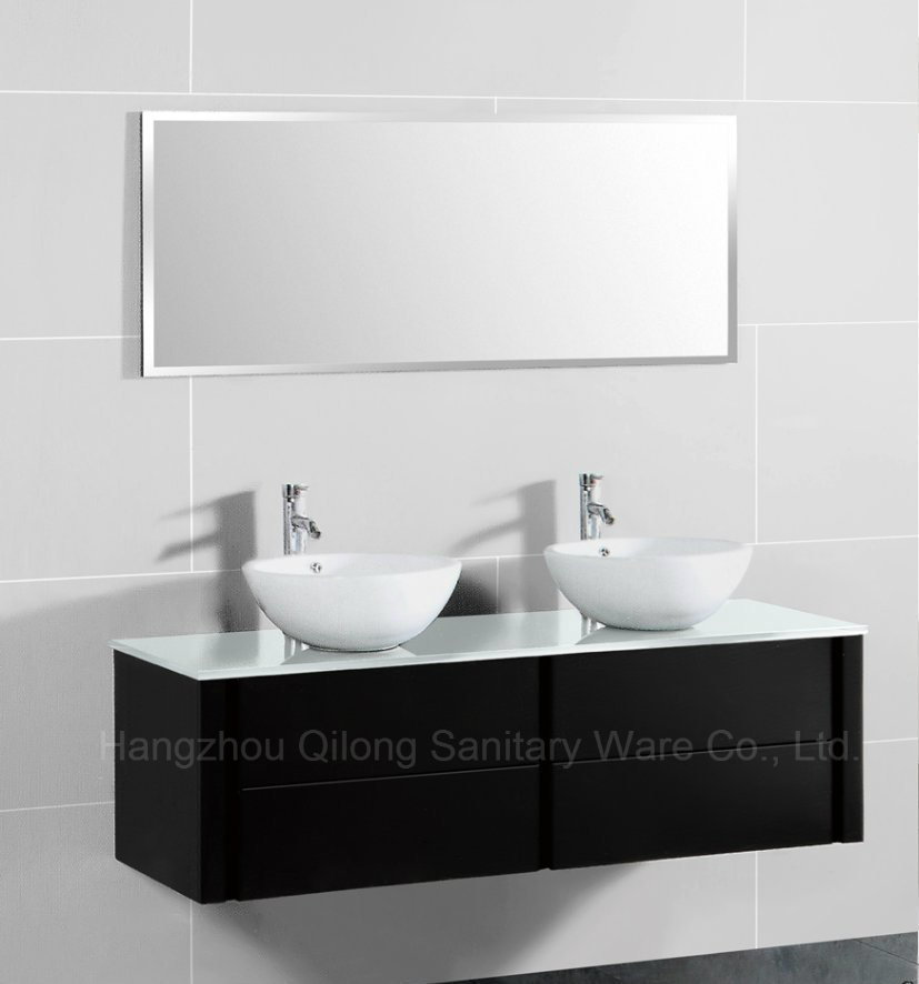 MDF Glass Worktop Bathroom Cabinet with Ceramic Basin