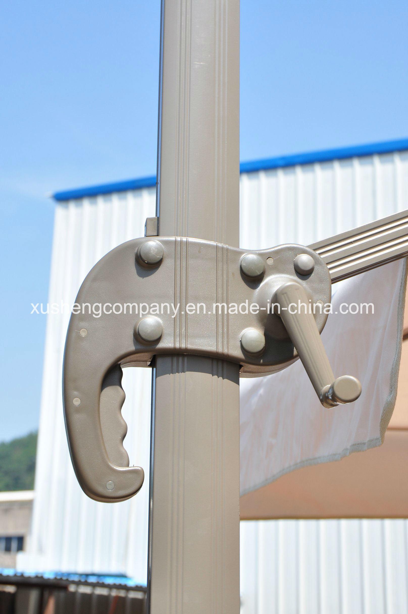 Patio 10FT Square Outdoor Rotating Roman Garden Umbrella, Parasol with Cross Base
