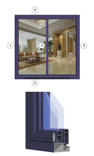 Mf76 Series Single-Glass Sash Aluminium Alloy Extrusion Profile for Door and Window