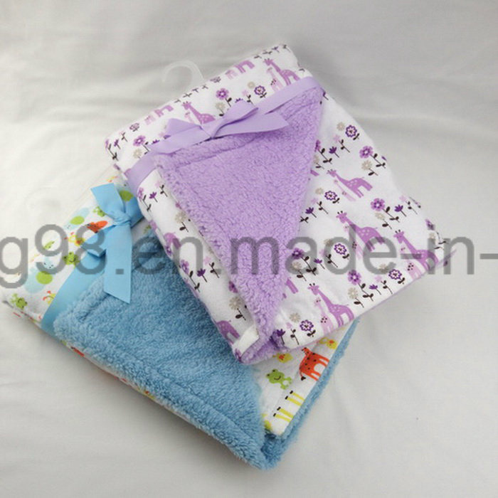 Animal Printed Design Cotton Flannel and Sherpa Baby Blanket