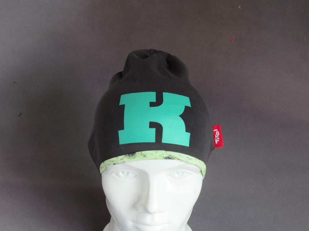 Grey Cotton Jersey Sports Running Beanie with Screen Printing