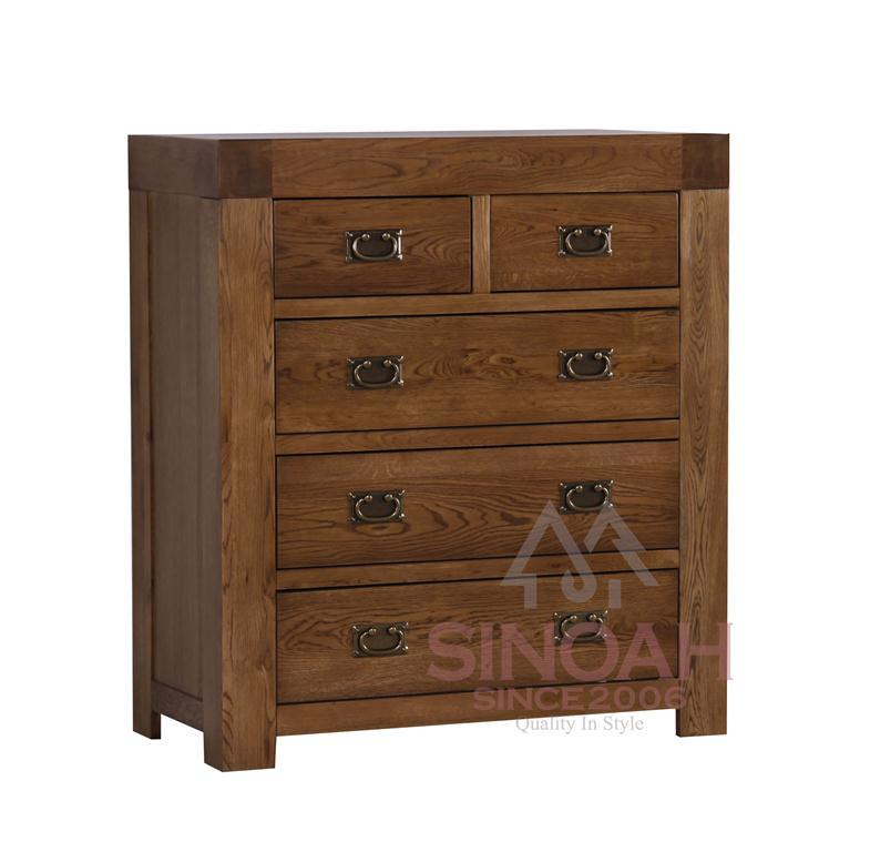 China Solid Oak Wooden 2 Over 3 Chest Of Drawers Bedroom