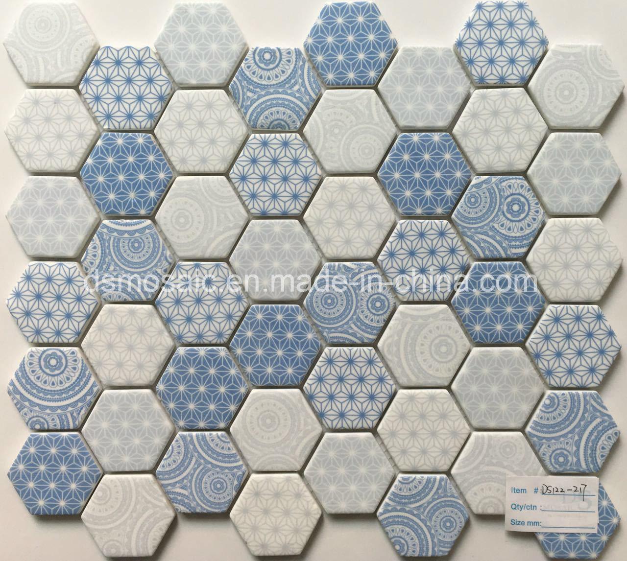 Newest Technology Full Body Hexagon Glass Mosaic Tile