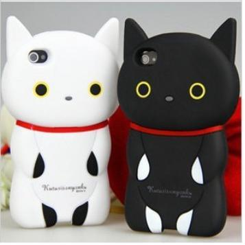 Cartoon 3d black white cat mobile phone back cover case for iphone5