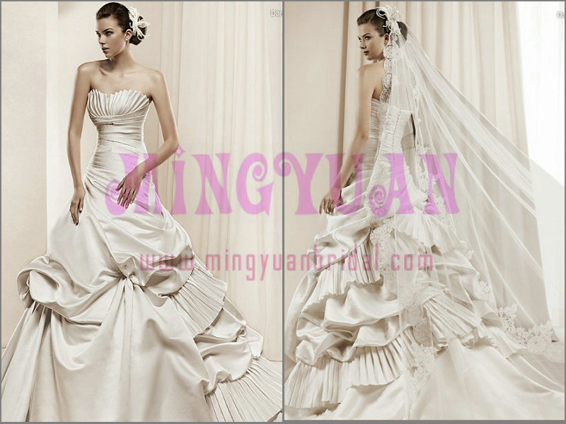 Ruffle Satin Backless Ball Gown Wedding Dress WB122