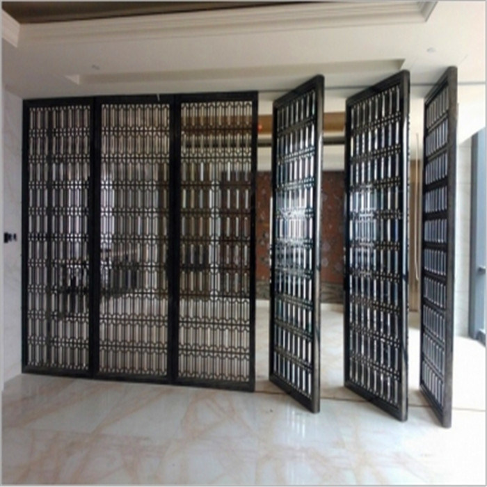 Bronze Color Metal Room Divider Screen Partition For Hotel Room Decoration