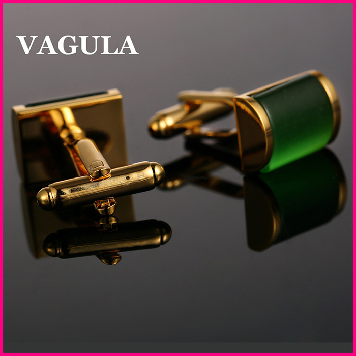 VAGULA High Grade Catseye Cuff Links Gold Cuff-Links Onyx Cuffs French Shirt Gemelos Cufflinks