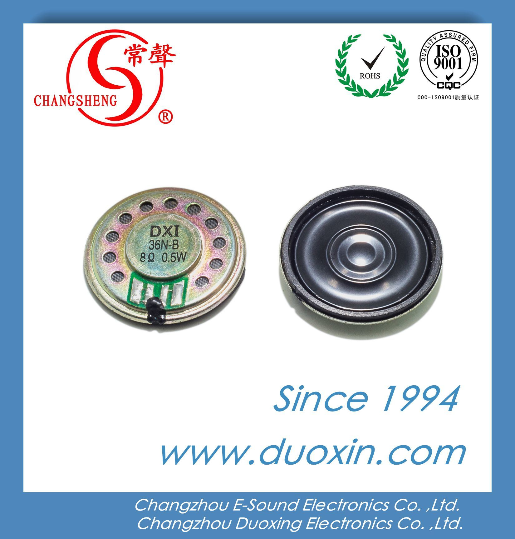 36mm 8ohm 0.5W Waterproof Mylar Mini Speaker Dxi36n-B with RoHS