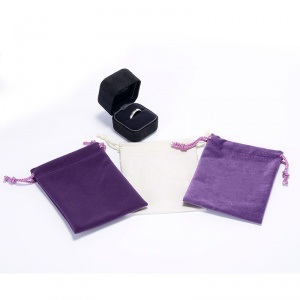 Violet Velvet Drawstring Jewelry Pouch