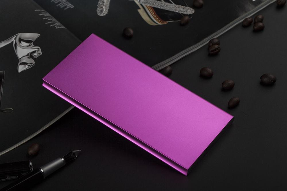 Slim Aluminium Alloy Portable 8000mAh Power Bank with Dual Output, LED Light