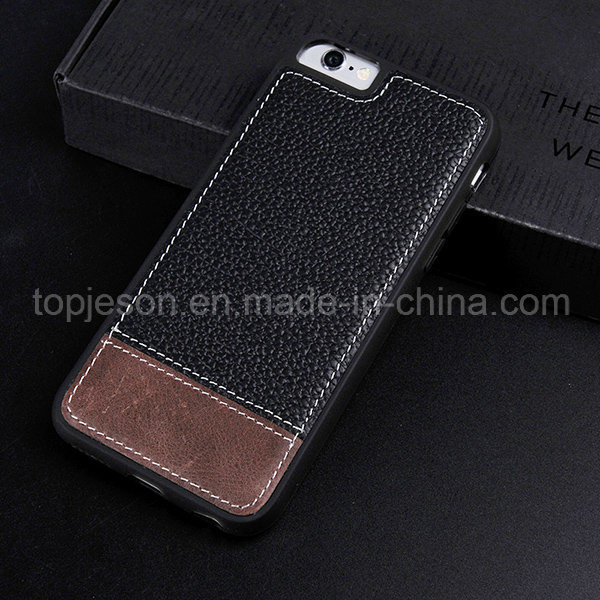 Black with Brown Genuine Leather Case for iPhone 6 Plus