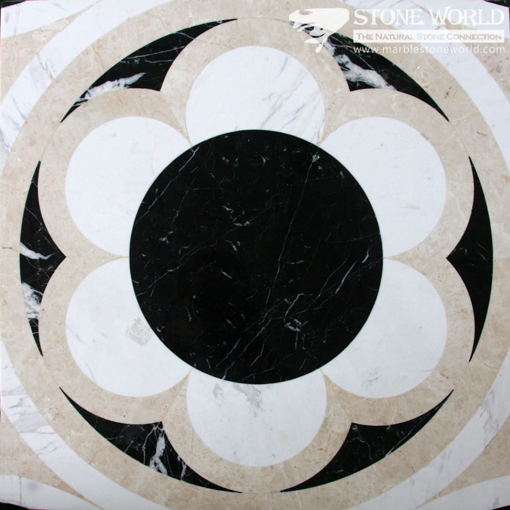 Mixed Waterjet Cutting Marble Medallion for Flooring/Paving/Lobby Tiles (mm-005)